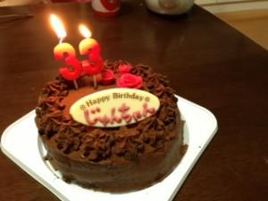 妻が手作りで作ってくれたチョコレートたっぷりのケーキも大変おいしかったです